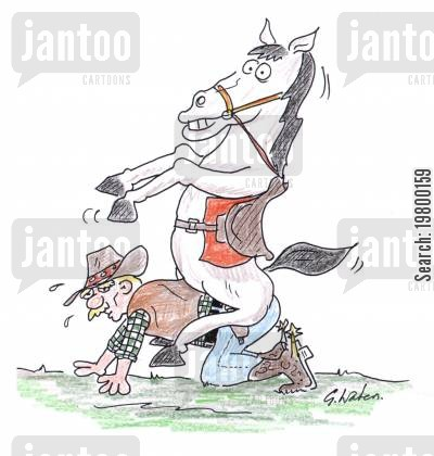 reversal cartoon humor: Horse Mounting Cowboy