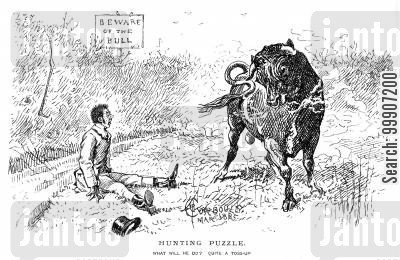 traps cartoon humor: A man cornered in a field by a bull