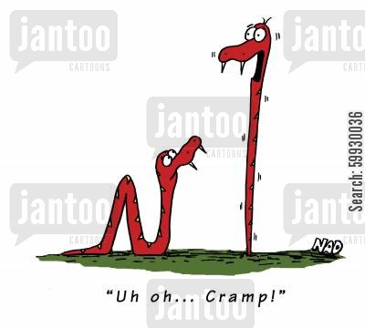 sliding cartoon humor: 'Uh oh... cramp!'