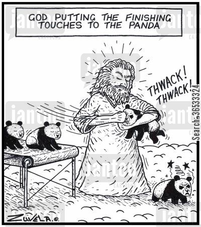 black eye cartoon humor: God putting the finishing touches to the Panda.