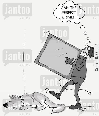 break in cartoon humor: The Perfect Crime...