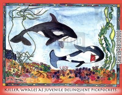 orca cartoon humor: Killer Whales as Juvenile Delinquent Pickpockets.