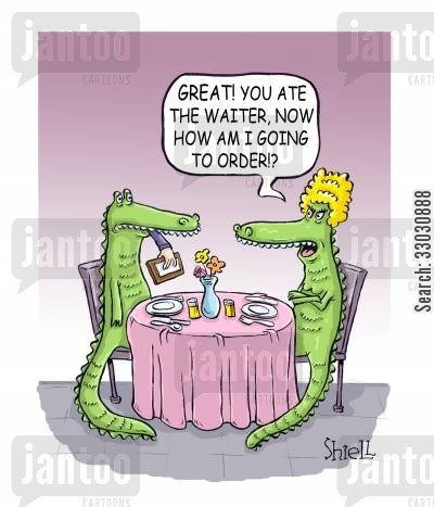 food order cartoon humor: 'Great! you ate the waiter, now how am I going to order!?'