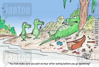 gators cartoon humor: 'You kids make sure you wait an hour after eating before you go swimming.'