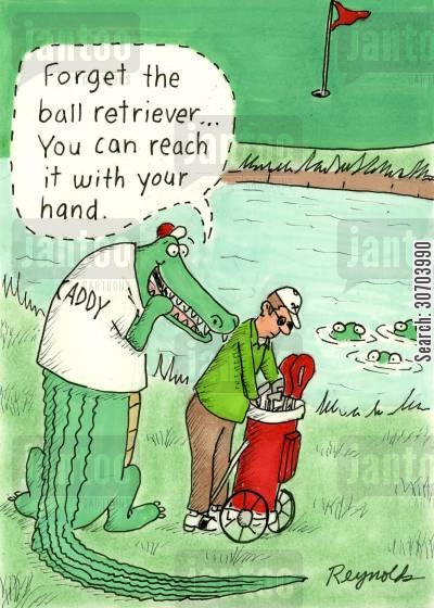 cros cartoon humor: 'Forget the ball retriever...you can catch it with your hand.'