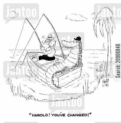 impersonates cartoon humor: 'Harold! You've changed!'
