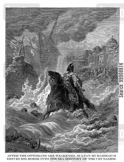 defeated cartoon humor: After the Ottomans are Weakened, Sultan Muhammad II Drives His Horse Into the Sea (History of the Crusades).