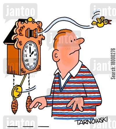 cuckoo clocks cartoon humor: Cuckoo flying out of its clock.