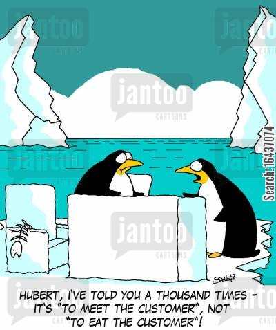 penguins diets cartoon humor: 'Hubert, I've told you a thousand times - it's 'to meet the customer', not 'to eat the customer'!'