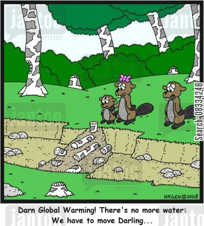 dam cartoon humor: 'Darn Global Warming! There's no more water: We have to move Darling...'