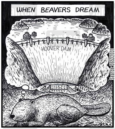 daydream cartoon humor: When beavers dream.