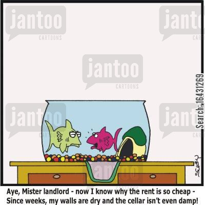 damp cartoon humor: 'Aye, Mister landlord - now I know why the rent is so cheap - Since weeks, my walls are dry and the cellar isn't even damp!'