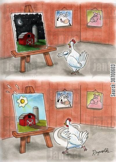 throwing eggs cartoon humor: Hen throws an egg and the picture turns to daytime.