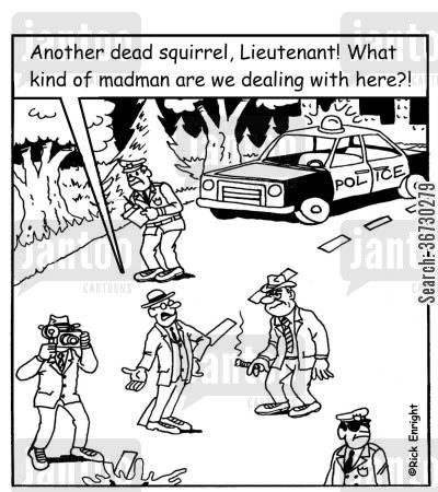 dead animals cartoon humor: 'Another dead squirrel, Lieutenant! What kind of madman are we dealing with here?!'