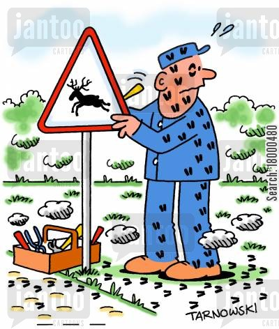 notices cartoon humor: Sign writer being trampled by deer.