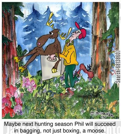 moose hunters cartoon humor: Maybe next hunting season Phil will succeed in bagging, not just boxing, a moose.