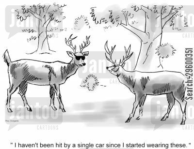 freeze cartoon humor: 'I haven't been hit by a single car since I started wearing these.'