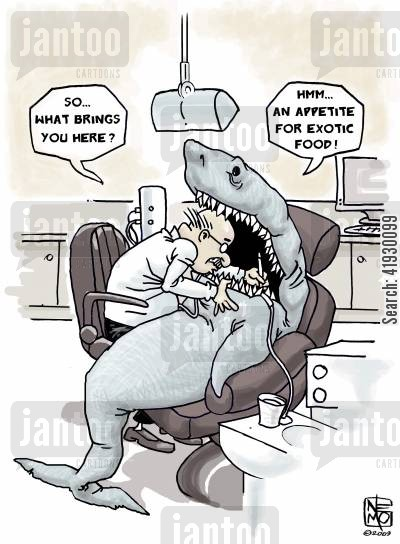 great white sharks cartoon humor: Shark Visit to the Dentist
