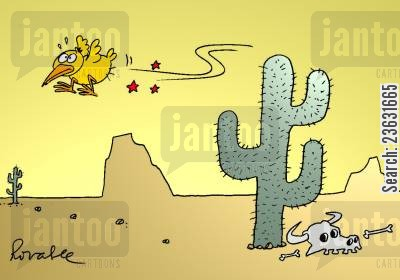 spikes cartoon humor: Bird gets pricked by cactus needles.