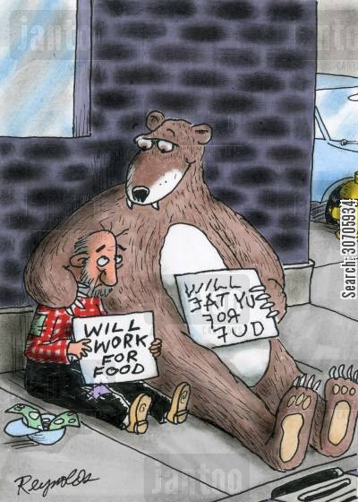 destitute cartoon humor: Hungry man and bear.