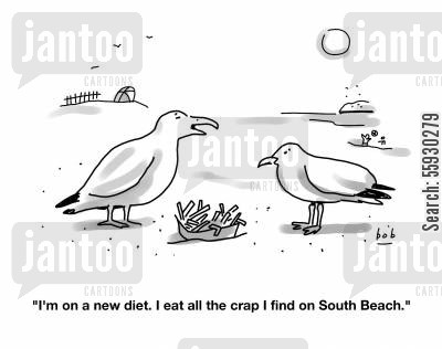 new diets cartoon humor: Seagulls on the South Beach diet
