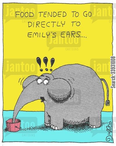 gain weight cartoon humor: FOOD TENDED TO GO DIRECTLY TO EMILY'S EARS....