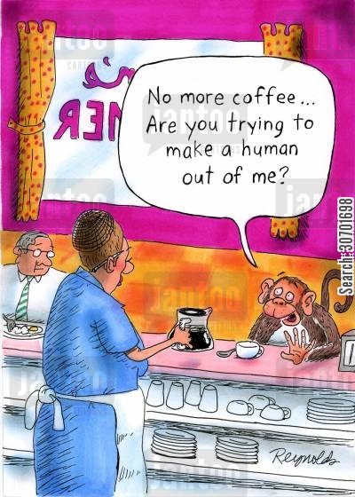 human beings cartoon humor: 'No more coffee...are you trying to make a human out of me?'