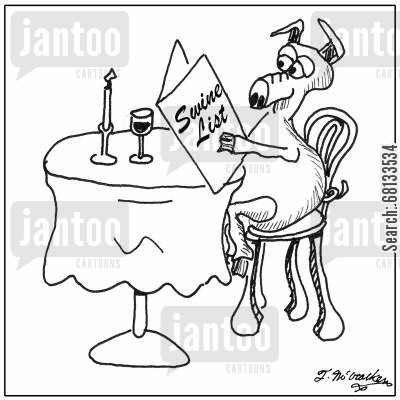 food menus cartoon humor: Swine List