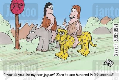drag race cartoon humor: Two cavemen at a stop sign, one sitting on a dinosaur and the other on a jaguar - 'How do you like my new jaguar? Zero to one hundred in 5.9 seconds!'