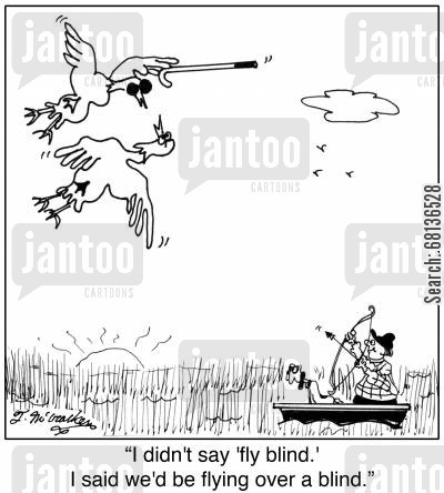 bow hunter cartoon humor: Blind Cartoon 5350: Duck to another with a cane and dark glasses flying over a hunter, 'I didn't say 'fly blind.' I said we'd be flying over a blind.'
