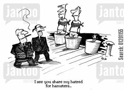 hamsters cartoon humor: I see you share my hatred for hamsters..