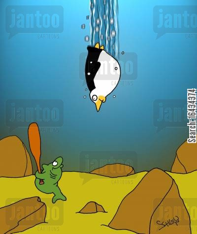 diving penguin cartoon humor: Diving Penguin in danger of being used as a baseball.