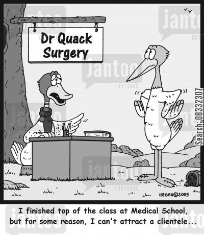 med schools cartoon humor: 'I finished top of the class at Medical School, but for some reason, I can't attract a clientele...'