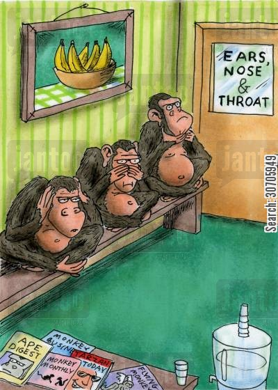 ears nose and throat cartoon humor: Waiting room.