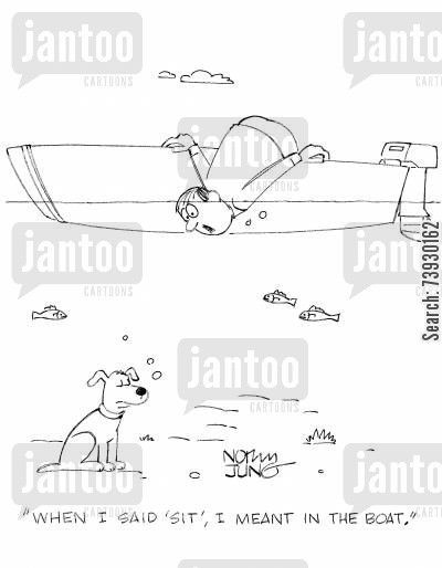 rowing boats cartoon humor: 'When I said 'sit', I meant in the boat.'