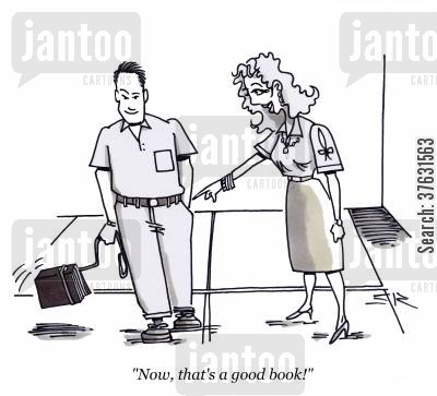 good book cartoon humor: 'Now, that's a good book!'