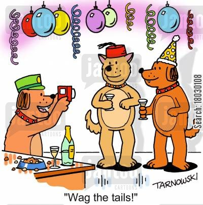 dog behaviour cartoon humor: 'Wag the tails!'