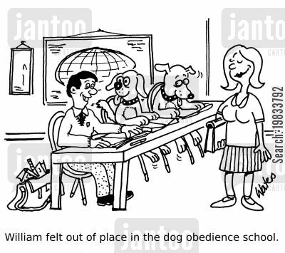 animal trainer cartoon humor: William felt out of place in the dog obedience school.