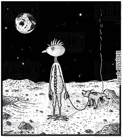moon landings cartoon humor: An Alien on the Moon waiting for his Alien dog to finish Peeing.