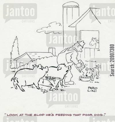farm dogs cartoon humor: 'Look at the slop he's feeding that poor dog.'
