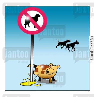 dogs not allowed cartoon humor: Banning Dogs.