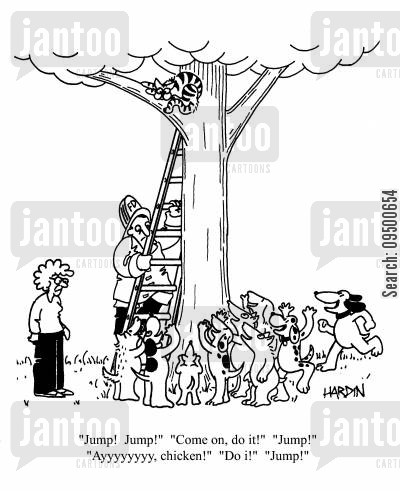 pack of dogs cartoon humor: Cat up a tree with a pack of dogs heckling him to 'Jump!'.