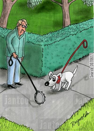 dog collar cartoon humor: Man with invisible dog and dog with invisible owner.