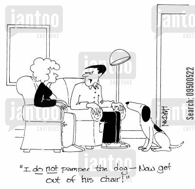 hsband cartoon humor: 'I DO NOT pamper the dog - Now get out of his chair!'
