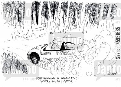 rally races cartoon humor: Now remember if anyone asks... you're the navigator.