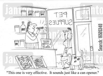 dog food tins cartoon humor: 'This one is very effective. It sounds just like a can opener.'