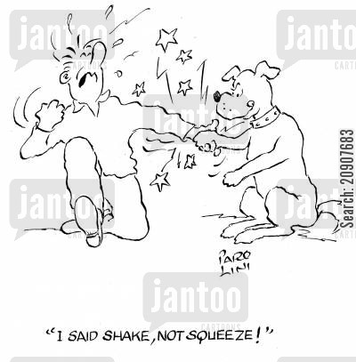 family dog cartoon humor: 'I said shake, not squeeze!'