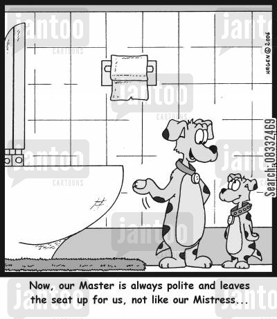 leave the toilet seat up cartoon humor: 'Now, our master is always polite and leaves the seat up for us, not like our Mistress...'