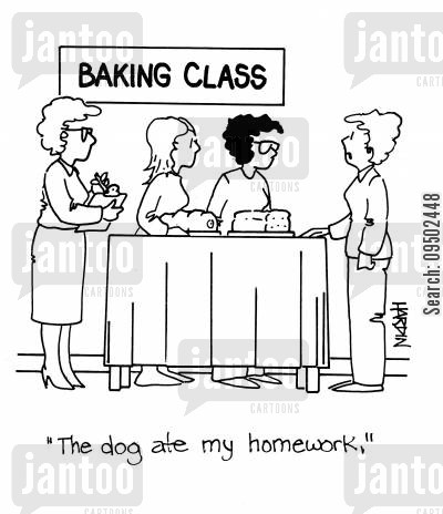 food technology cartoon humor: 'The dog ate my homework.'