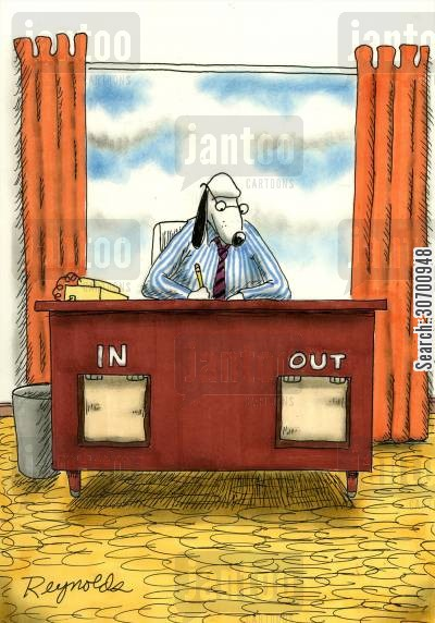 dogflap cartoon humor: Dog has In and Out Flaps on Desk.